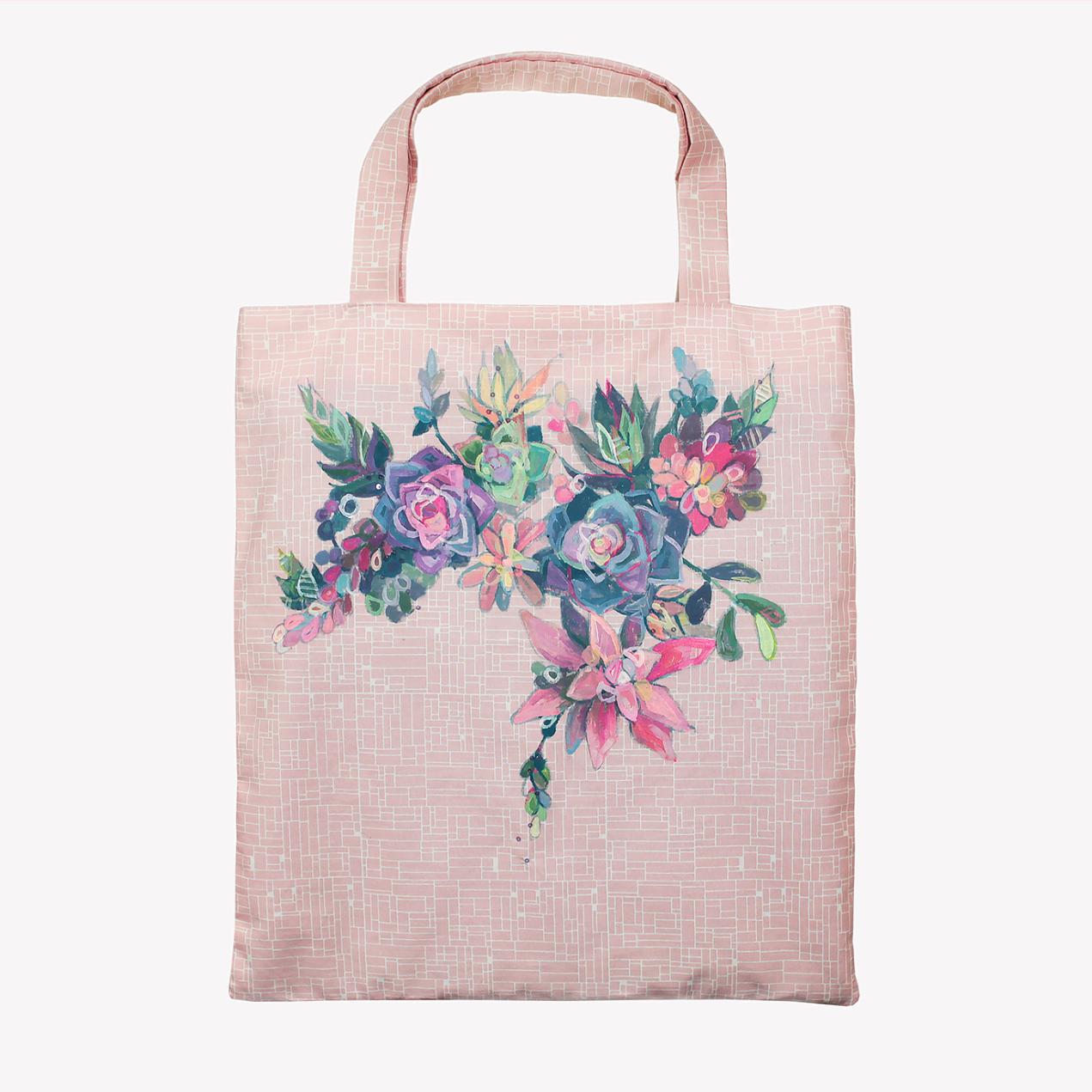 Hand Painted Succulent Tote Bag