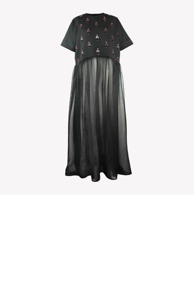 Embellished scuba top with maxi chiffon gathering