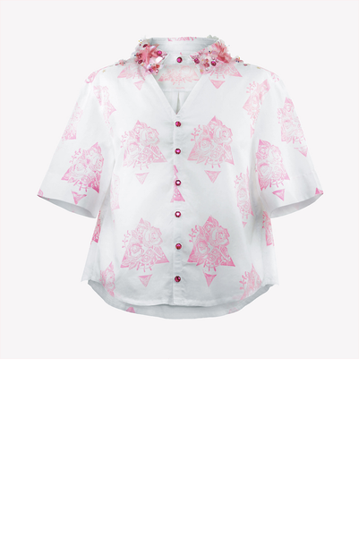 Hand printed shirt with sequin flowers