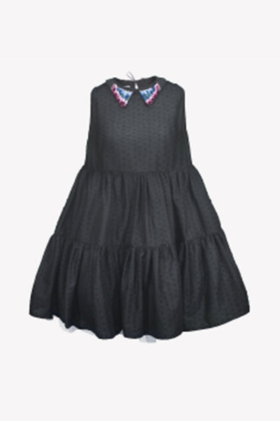 Baby doll dress with hand embroidered collar and petticoat