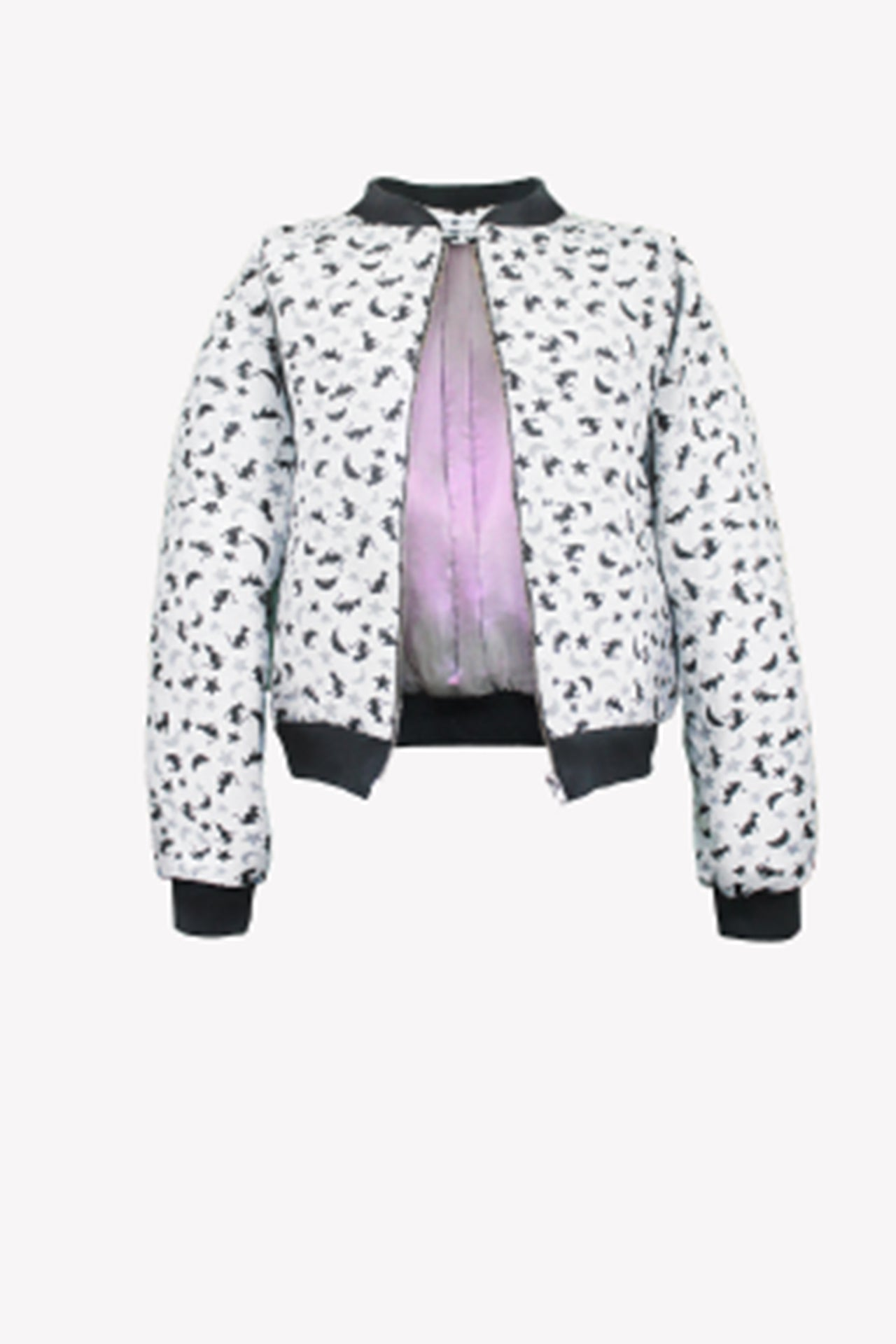 Cat and moon tapestry bomber jacket