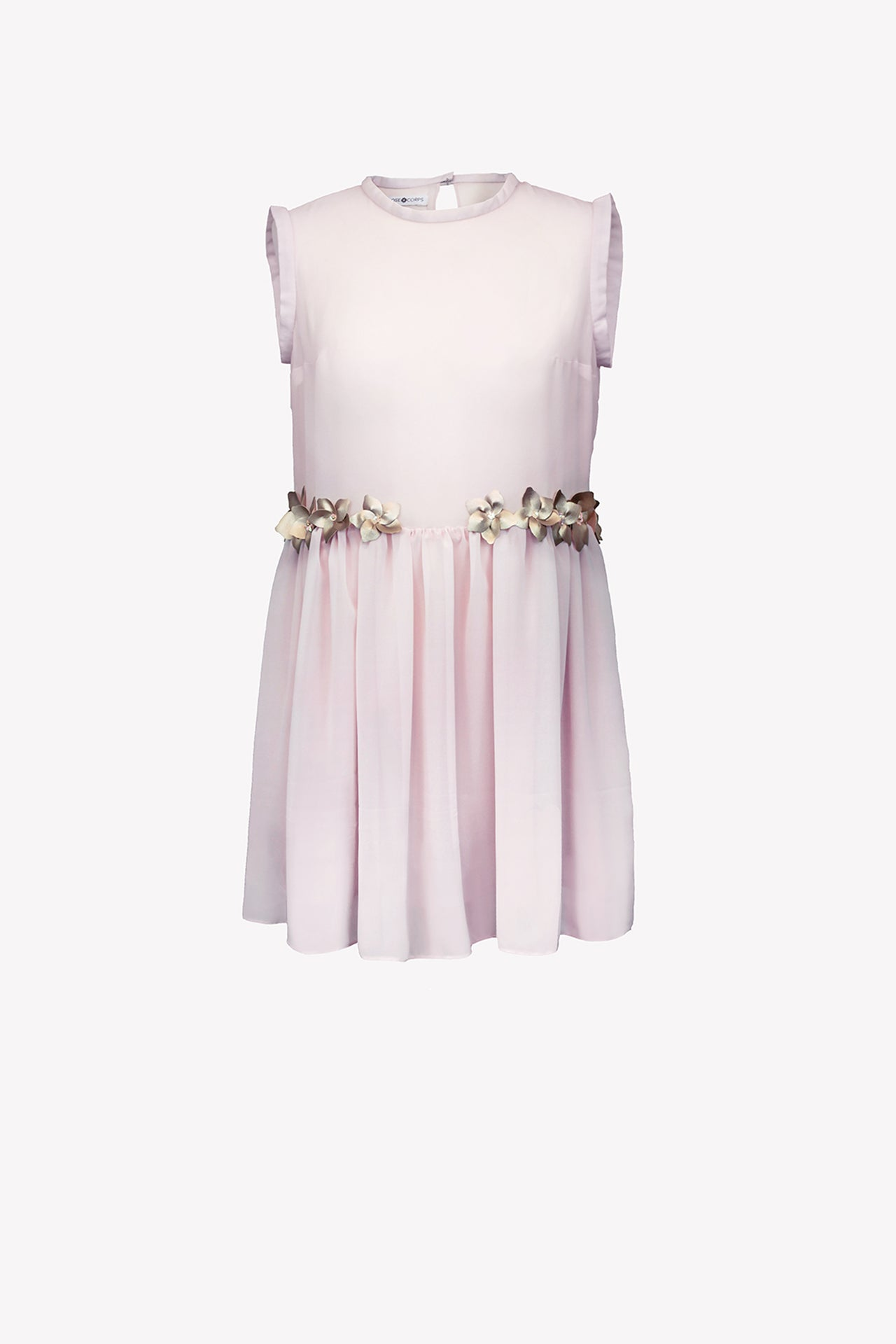 Chiffon dress with faux leather flowers