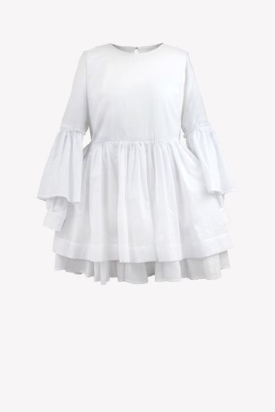 Cotton lolita dress with gathering on sleeves and open back