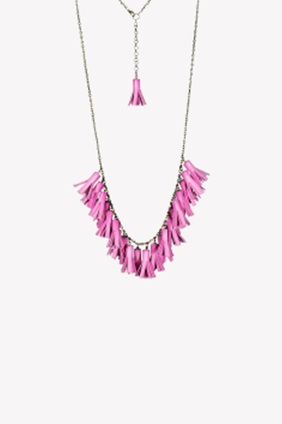 Extra long leatherette tassel necklace