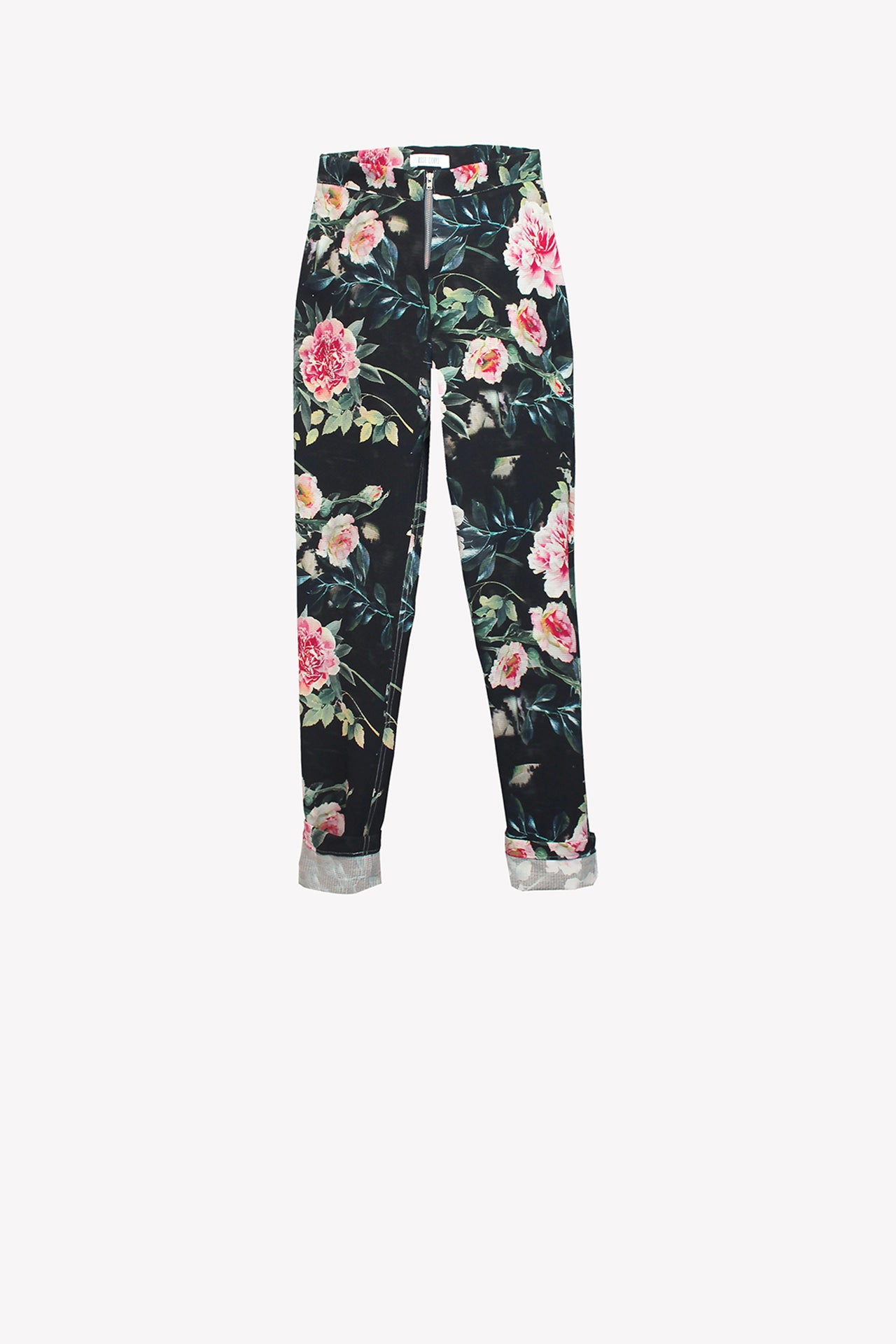 Floral straight high-waisted trousers