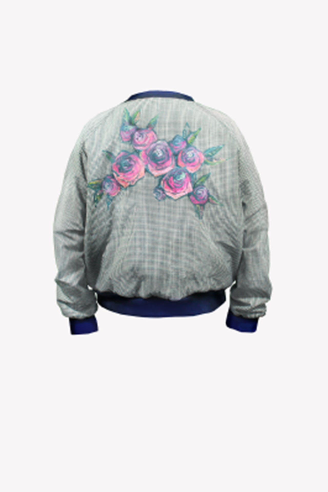 Hand painted gingham bomber jacket in navy