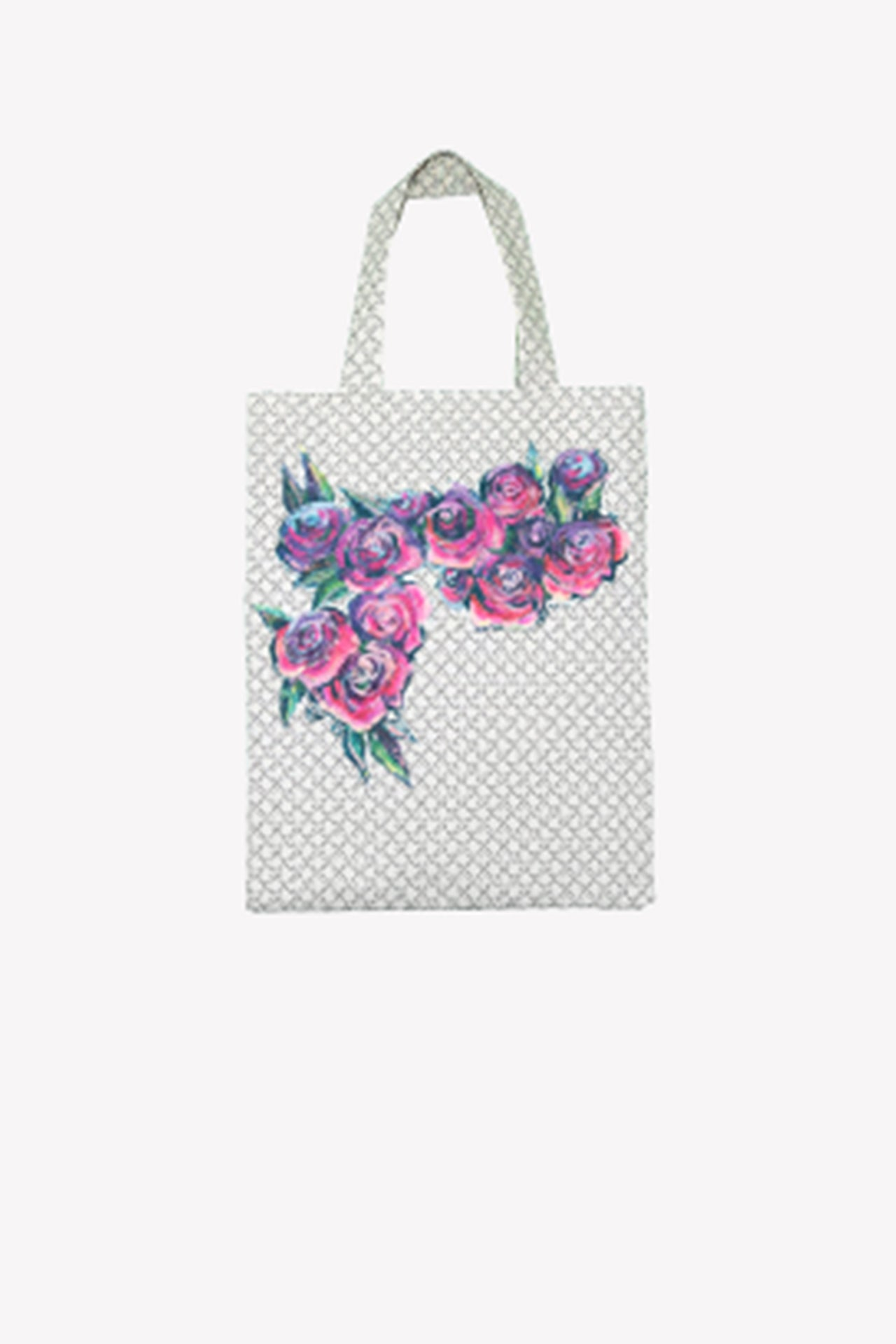 Hand painted rose tote bag