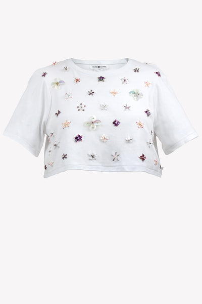 Jersey crop t-shirt with sequin & bead flowers