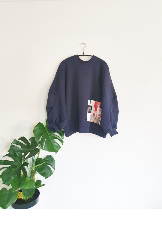Organic Patch Jumper, Navy