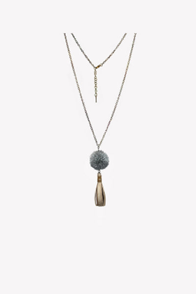 Long statement necklace with gray pompom and leather tassel