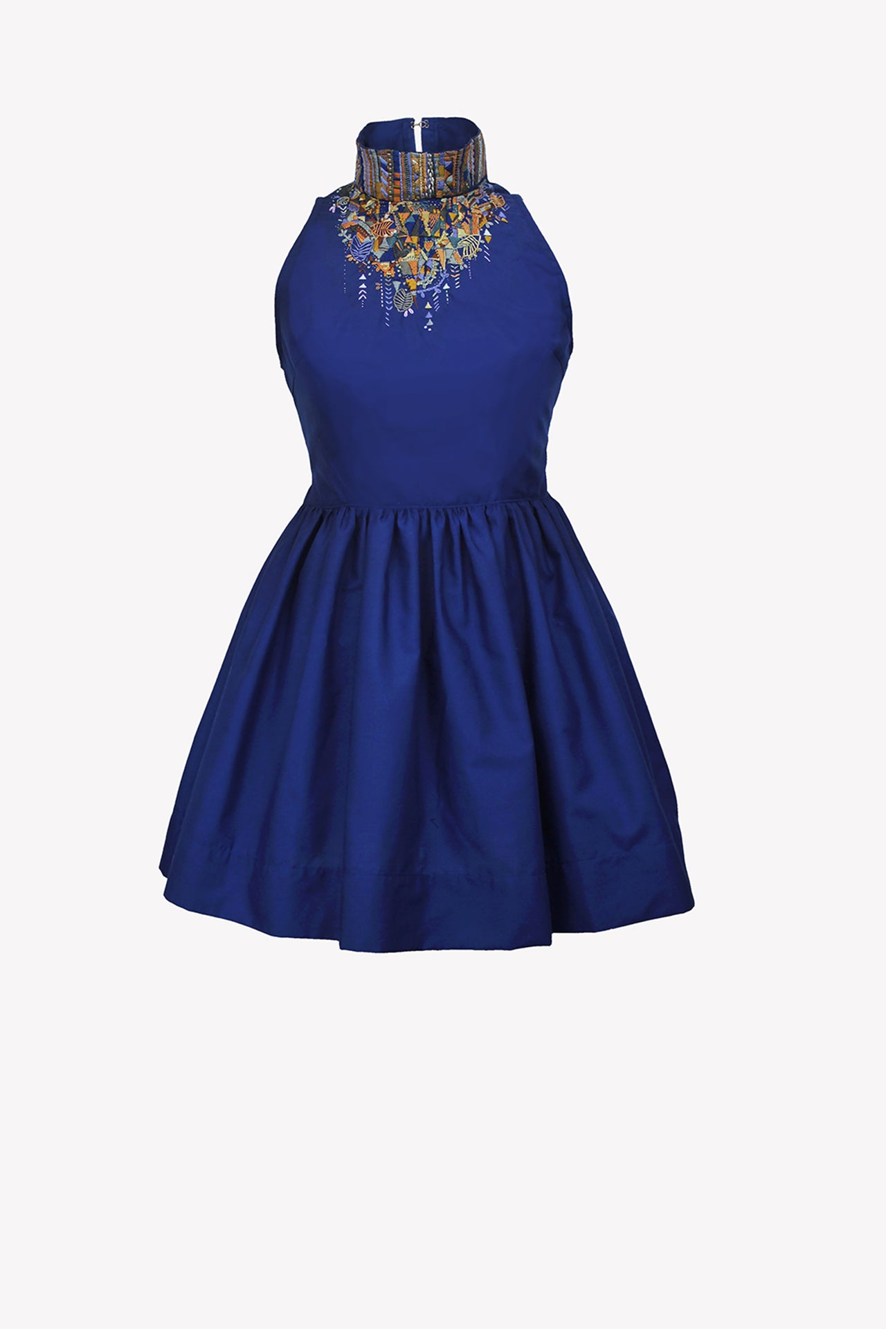 Navy blue dress with hand embroidery