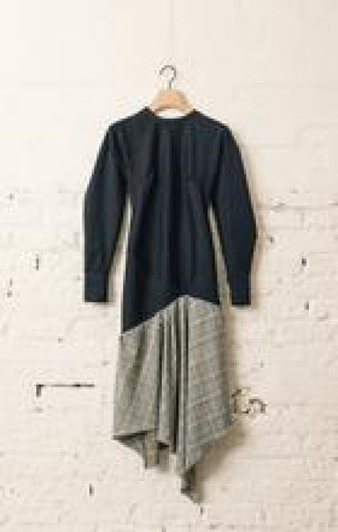 Asymmetric Check Dress, Navy