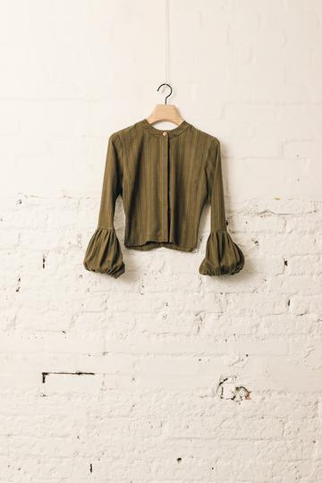 Volume Sleeved Stripe Top, Dark Green
