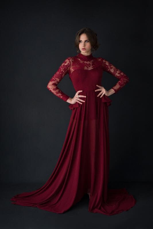 Red lace peplum gown