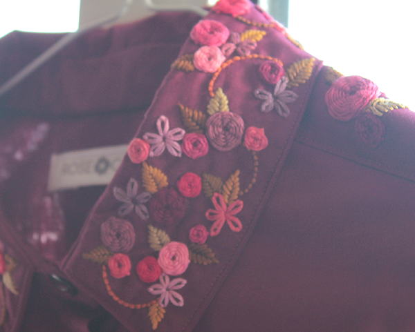 Shirt with basque & floral embroidery