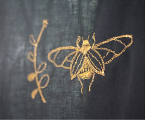 Cotton top with gold moth embroidery and tulle basquine