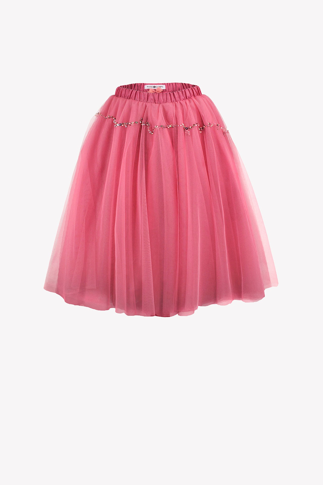 Salmon pink tutu with bead embroidery
