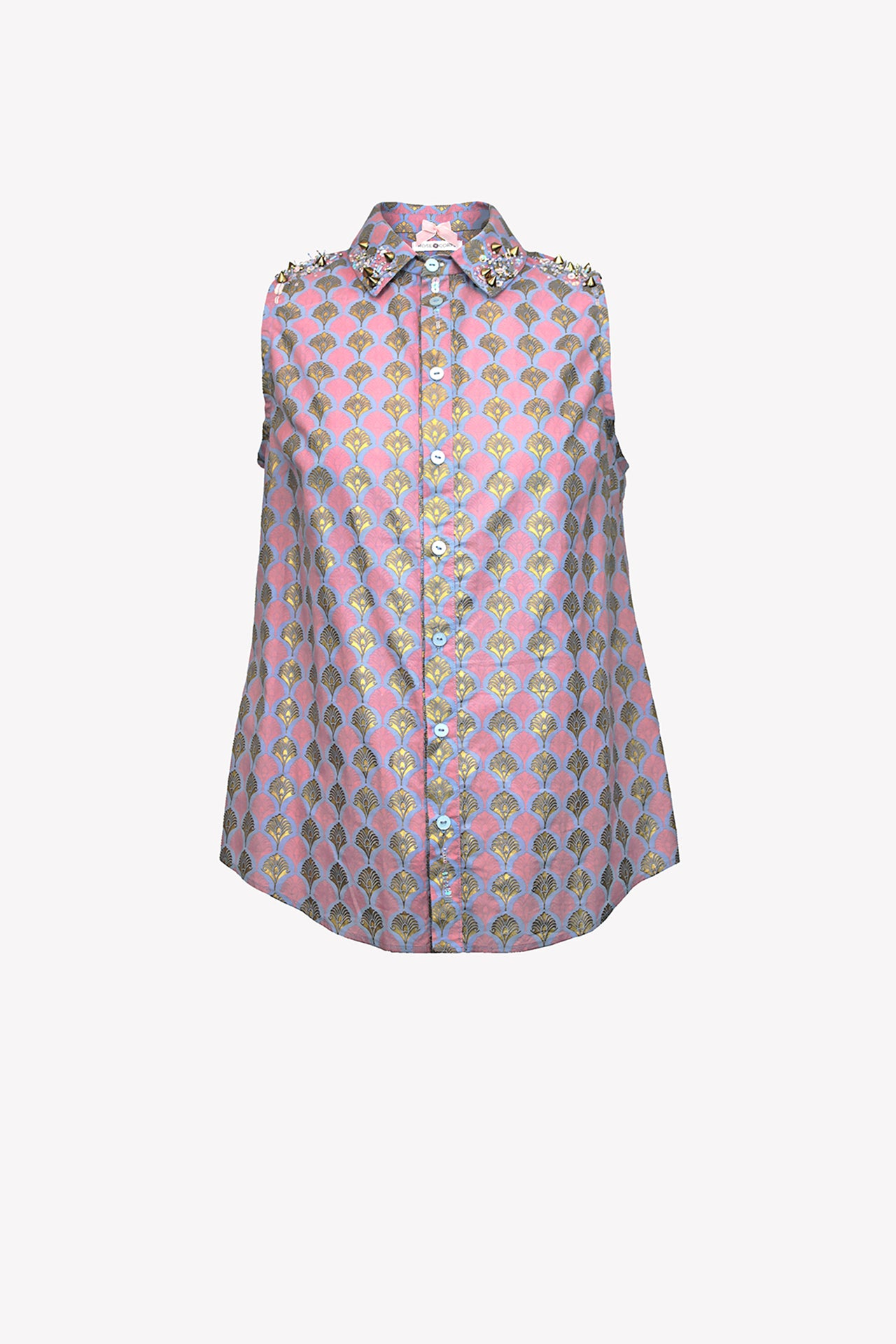 Shirt with sequin bead embellishment