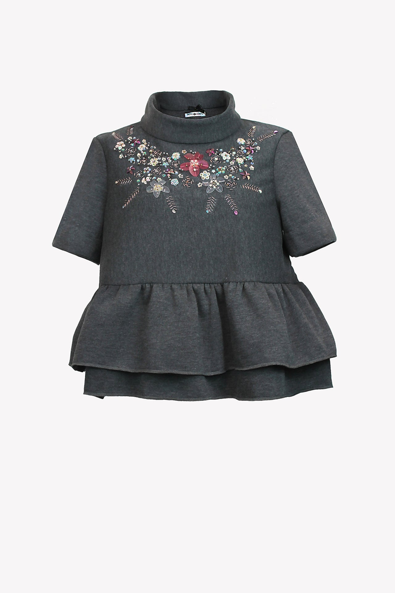 Short sleeve sweater crop top with floral bead embroidery