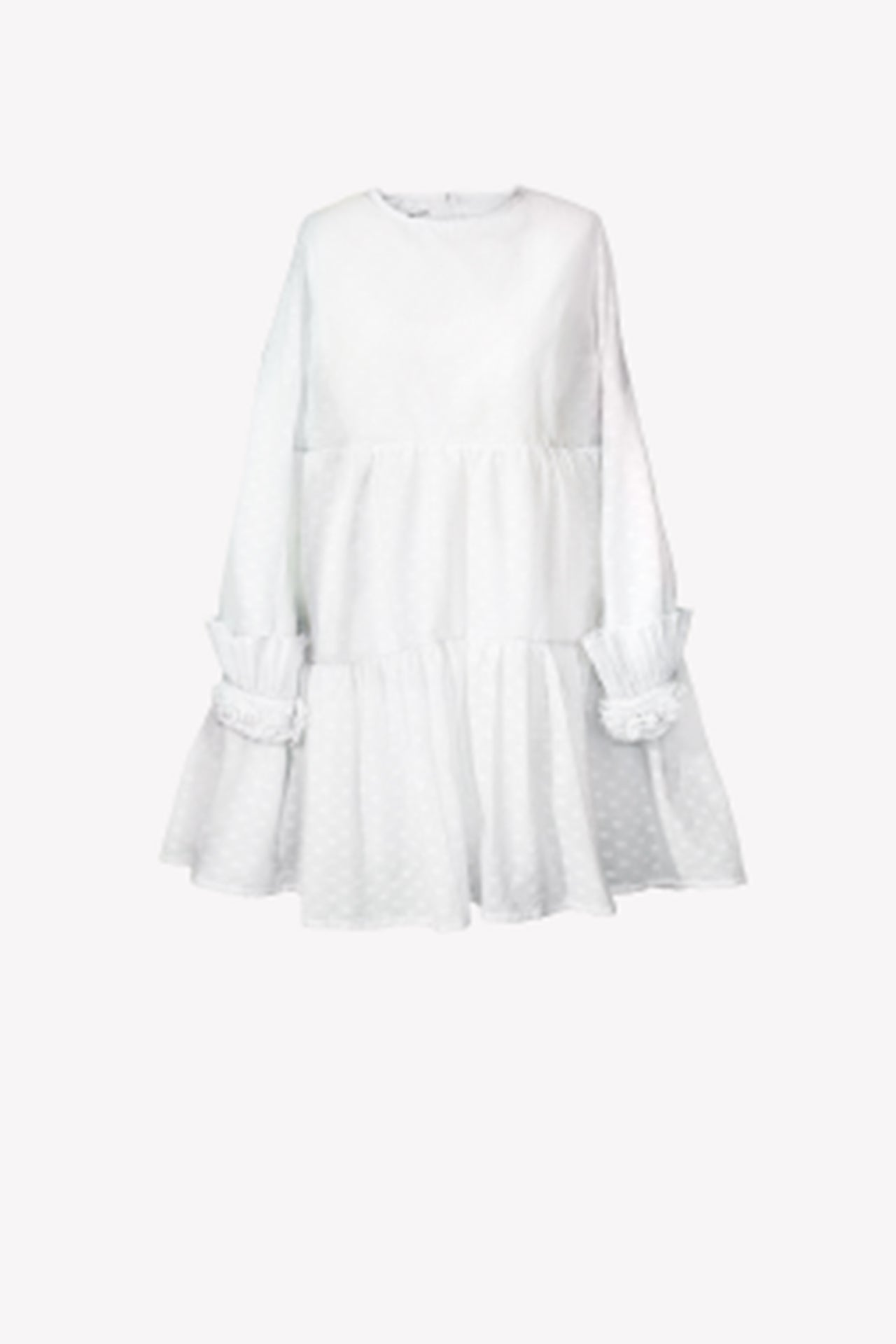 Spotted baby doll dress with artificial flowers and pleats on sleeves
