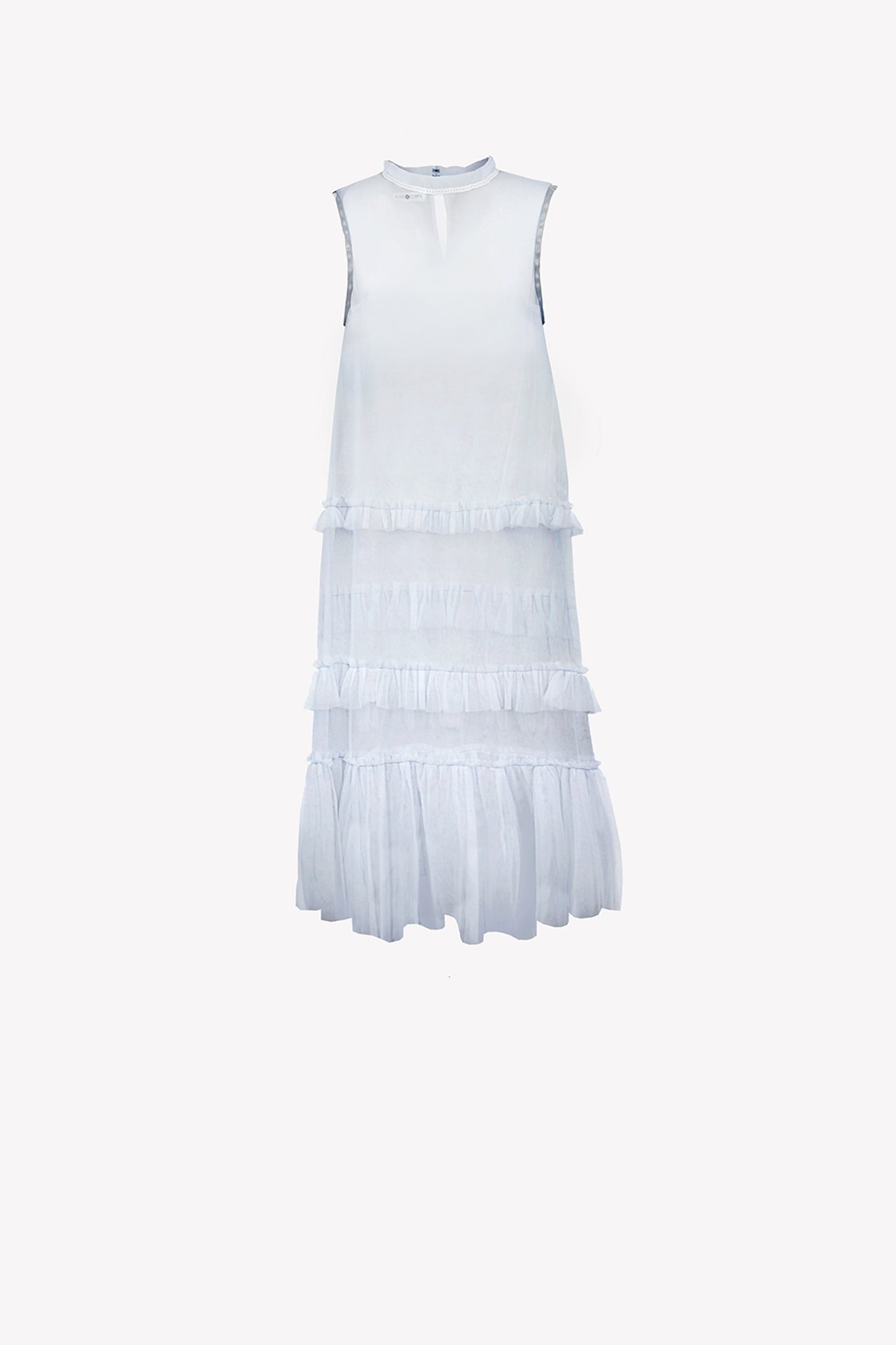 Tulle maxi tunic with frills and sequin neckline