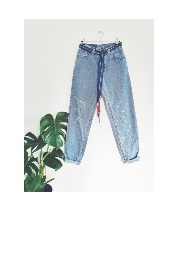High Wasted Upcycled World Lovers Jeans