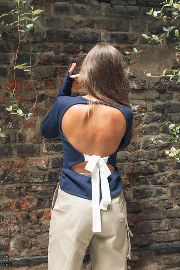 Organic Backless Jumper, Navy