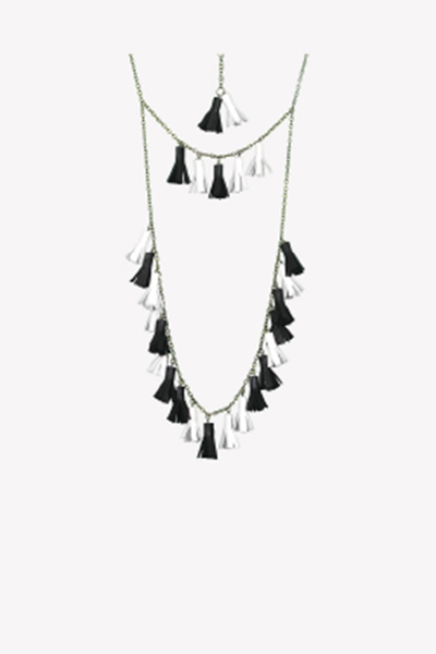 Leatherette tassels necklace in black and white