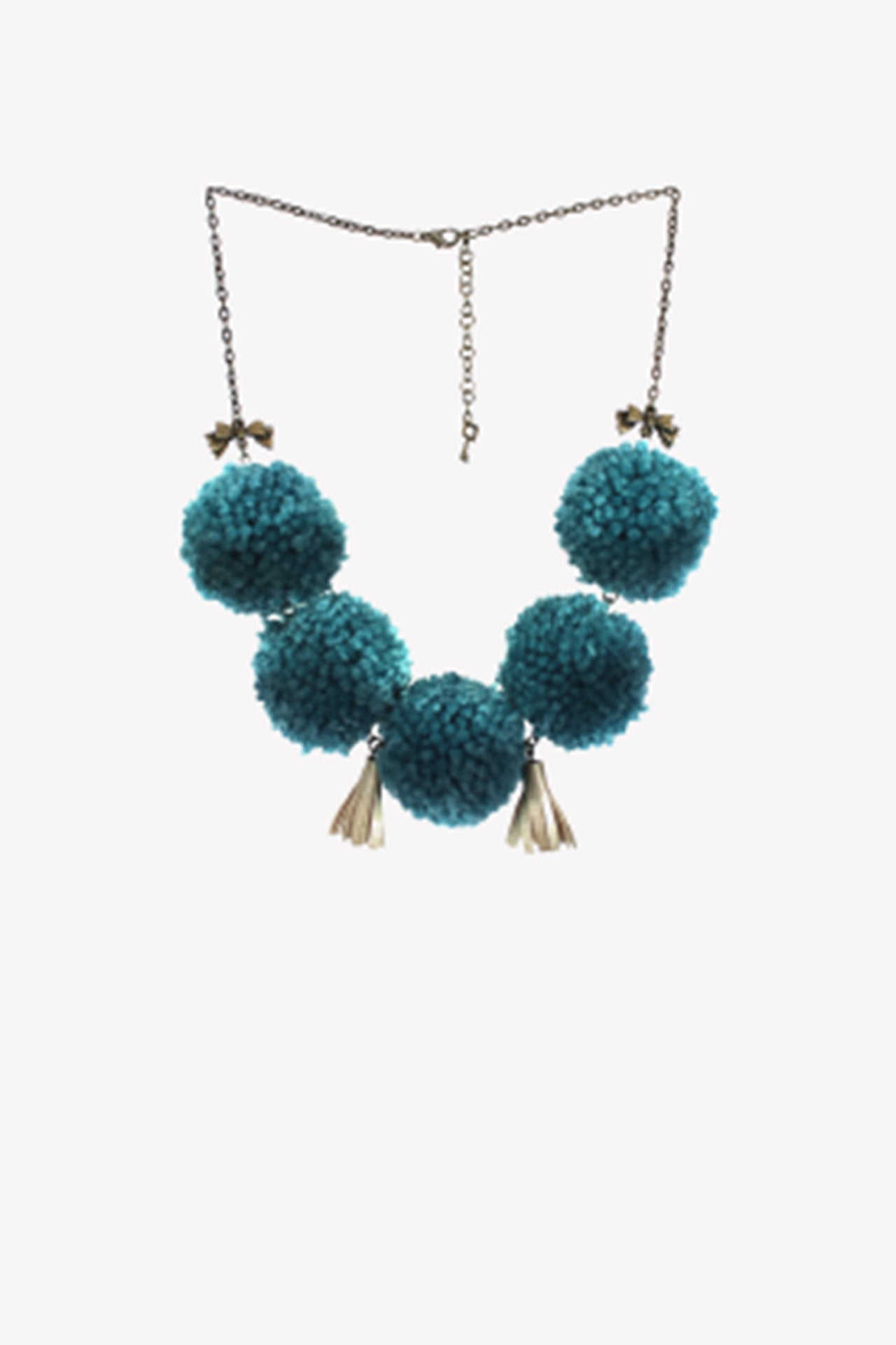 Short statement necklace with turquoise pompoms, sequins, leather tassels and gold bow charms