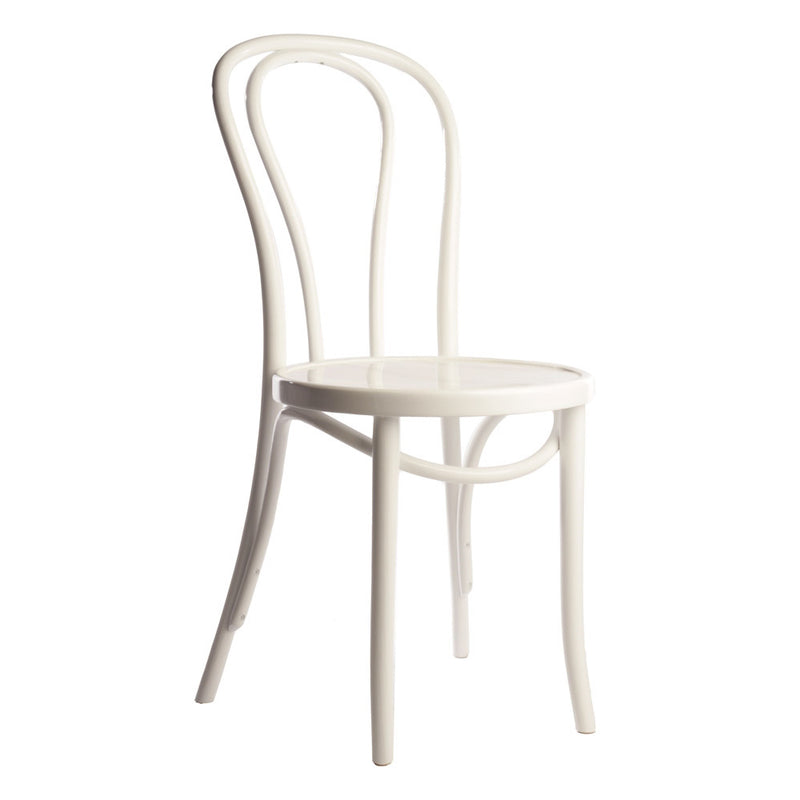 Hairpin Bentwood Side Chair - White