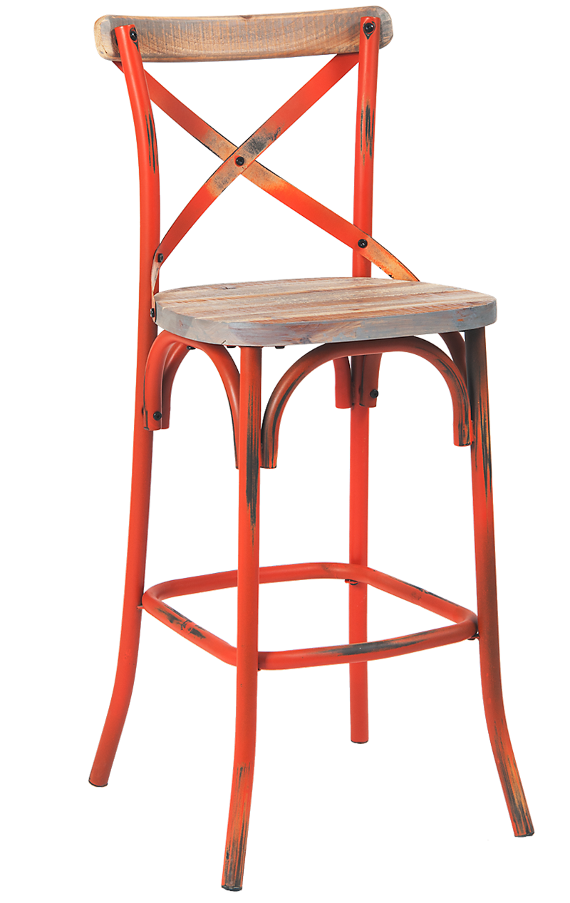 Cross Back Steel Barstool w/ Chinese Fir Wood Seat, ERF-107-BS