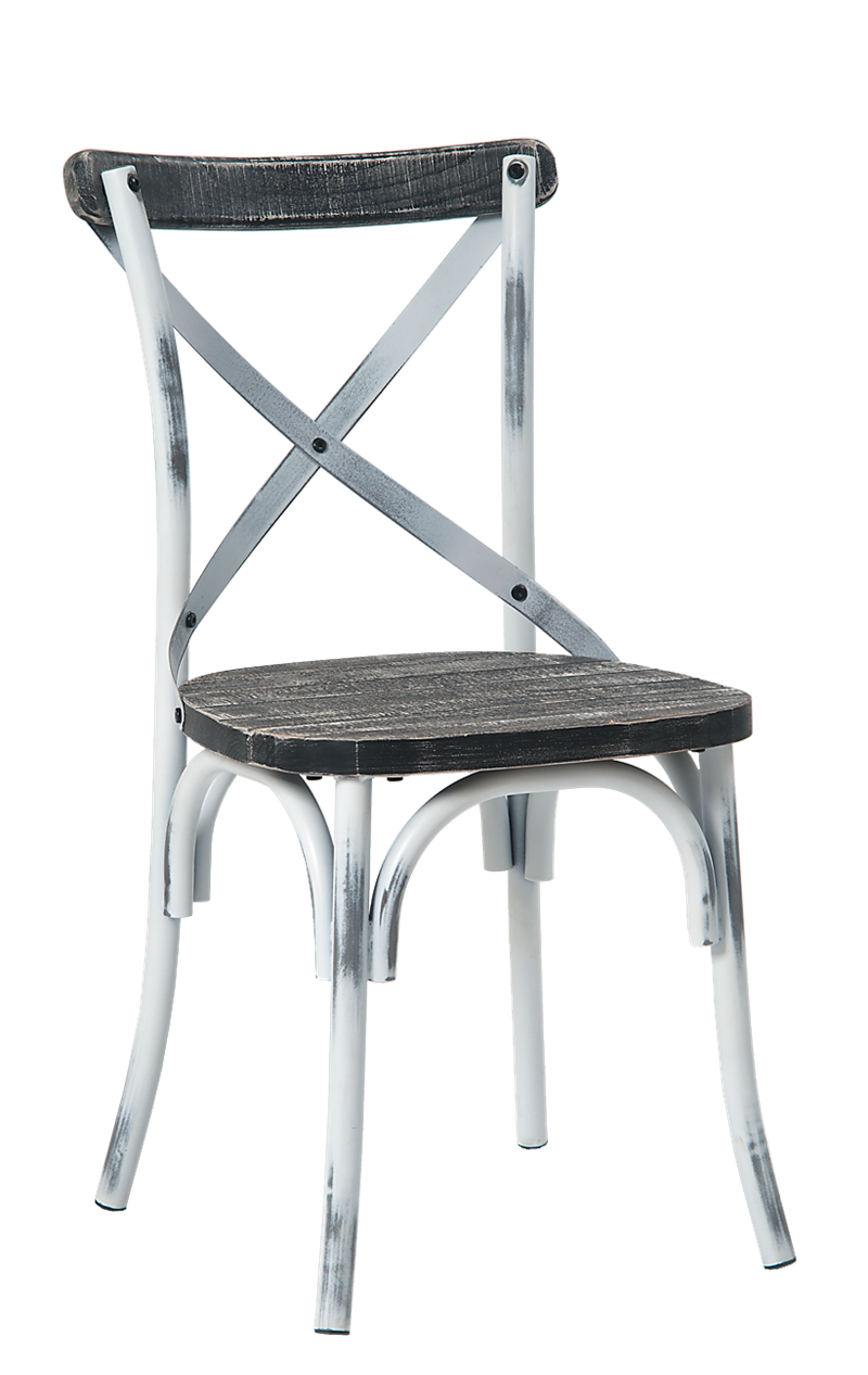 Cross Back Steel Chair w/ Chinese Fir Wood Seat, ERF-108
