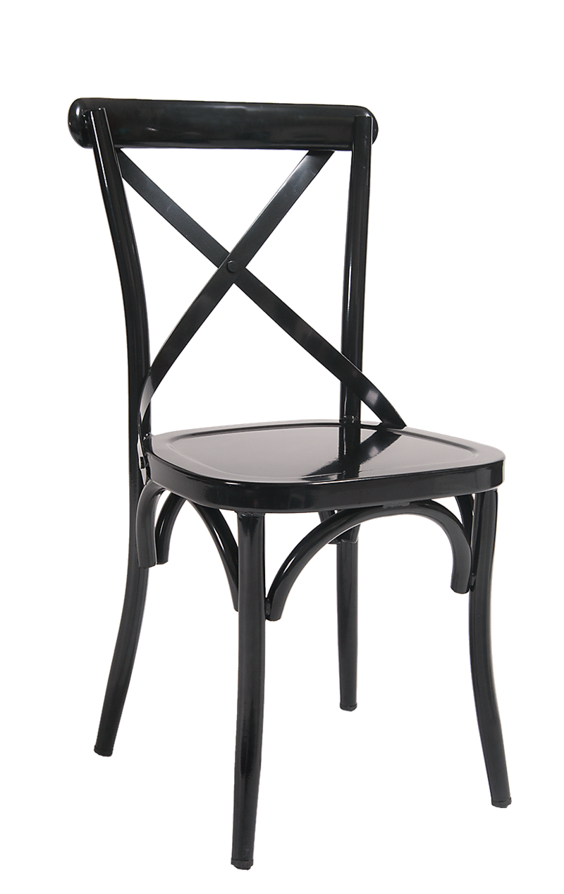 Black Cross Back Metal Chair, ERF-115