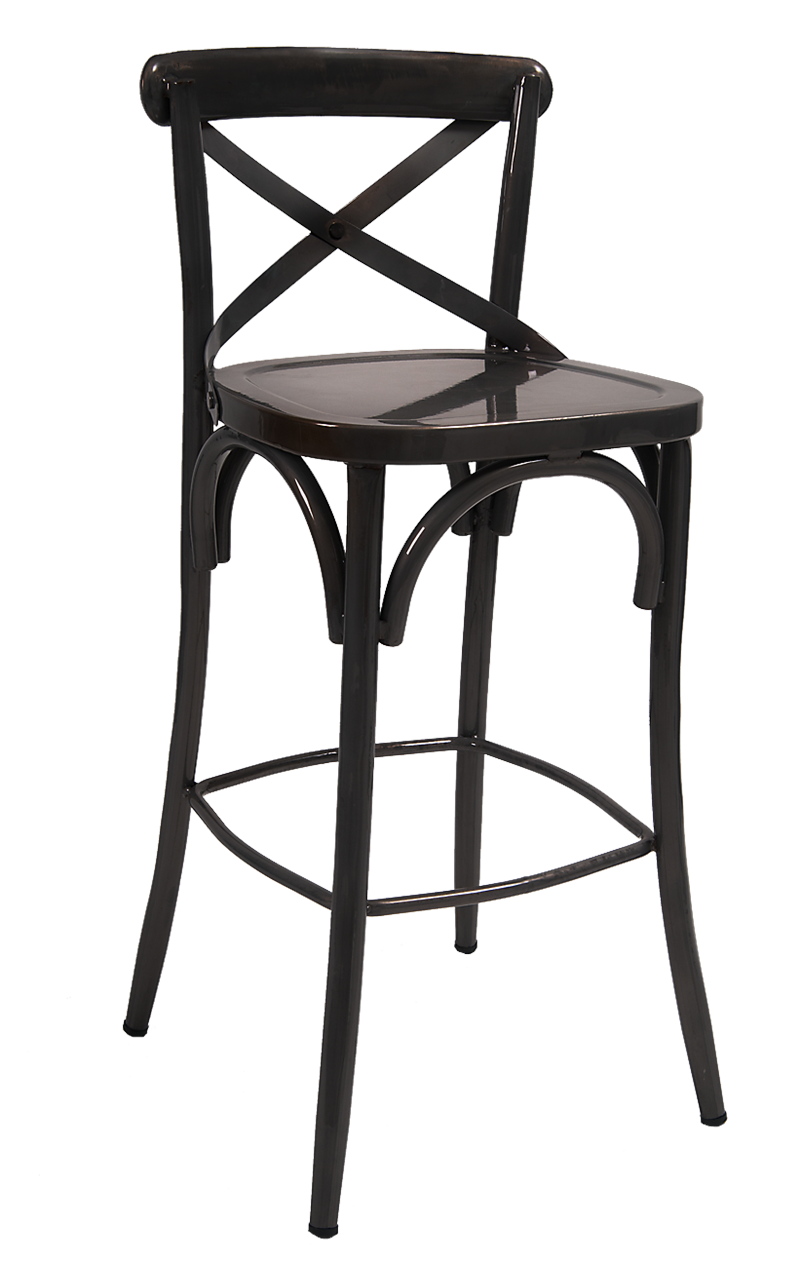 Black Cross Back Metal Barstool, ERF-115-BS