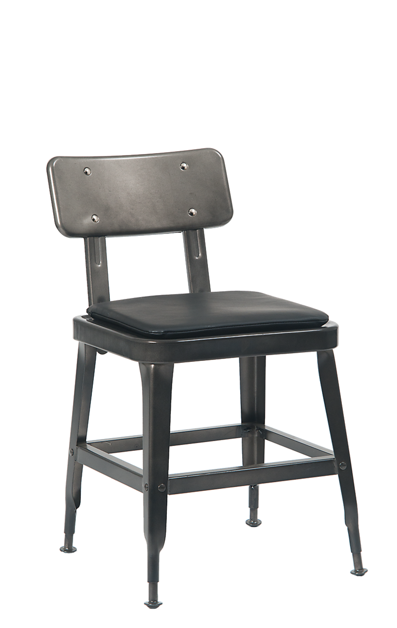Metal Chair in Gunmetal Color w/ Black Vinyl Seat, ERF-122GUN