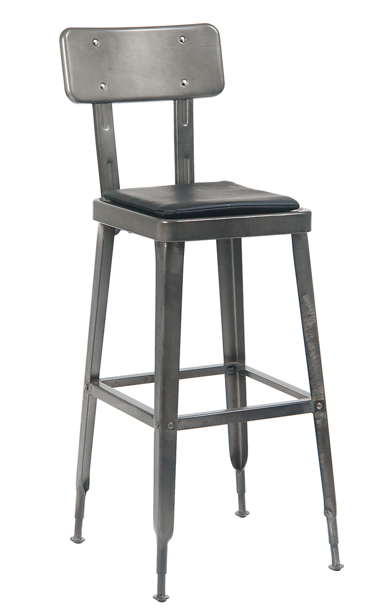 Metal Barstool in Gunmetal Color w/ Black Vinyl Seat, ERF-122GUN-BS