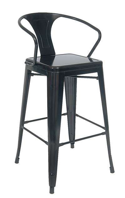 Indoor Steel Barstool in Black Finish, ERF-12B-BS