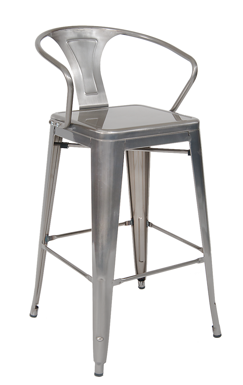 Indoor Steel Barstool in Clear Coat Finish, ERF-12C-BS