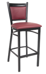 Black Metal Barstool w/ Burgundy Vinyl Back, ERF-144-BS