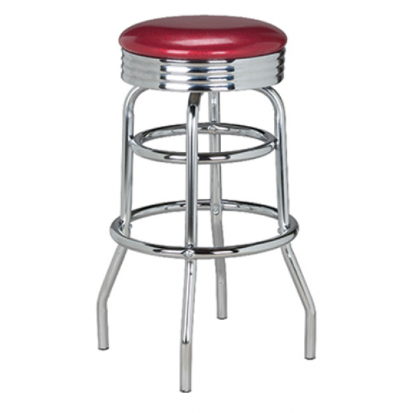 Retro Backless Swivel Stool w/ Double Footring