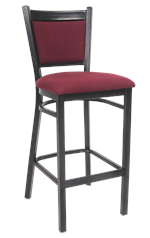 Black Metal Barstool w/ Burgundy Fabric Back, ERF-145-BS