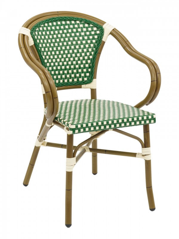 Aluminum Frame Bamboo Finish PE Weaved Back and Seat Stackable Outdoor Arm Chair, Panama Series