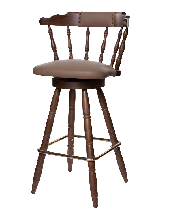 First Mates Early Colonial Era Style Upholstered Seat Barstool