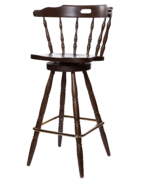 First Mates Early Colonial Era Style Swivel Solid Wood Seat Barstool