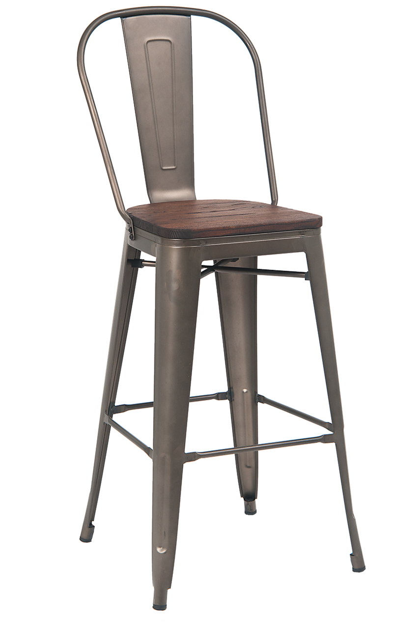 E231-BS GunColor Coating W/Elmwood Seat In Walnut