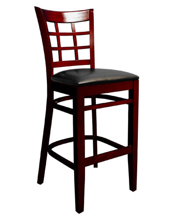 Beechwood Lattice Back Veneer Barstool, ERF-B1025BS-VN