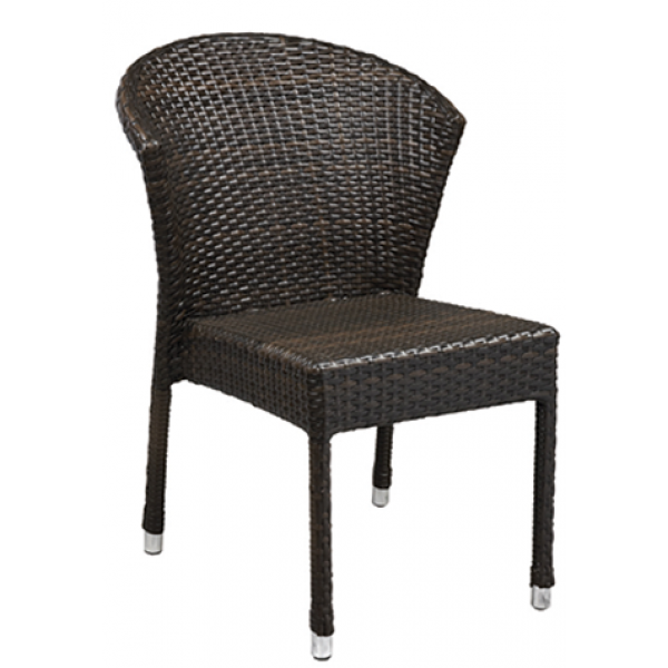 Amalfi Aluminum Stacking Chair w/ Rattan Back
