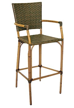 Bamboo Look Aluminum Outdoor Arm Barstool, PE Weave Binding Back & Seat, Havana Series