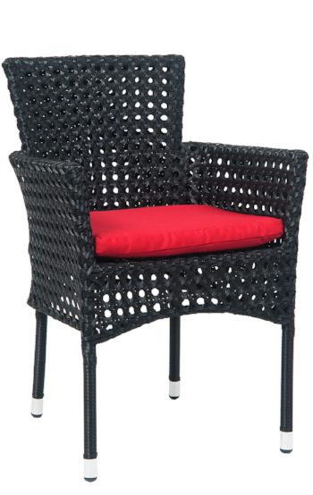 Aluminum Black Synthetic Wicker Armchair, ERF-89