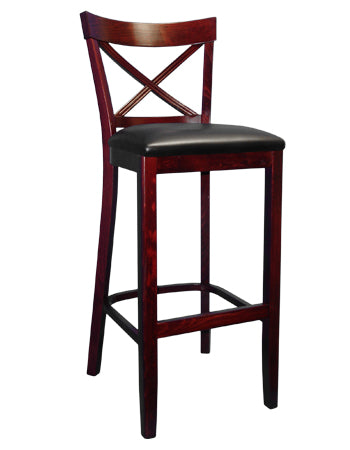 1-E1032 X Back Wood Bar Stool